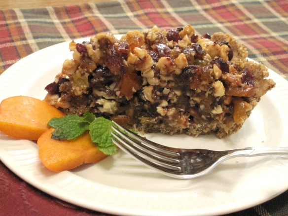 Apricot Date Hazelnut Sticky Pie piece