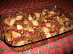 Hazelnut Cranberry Bread Pudding